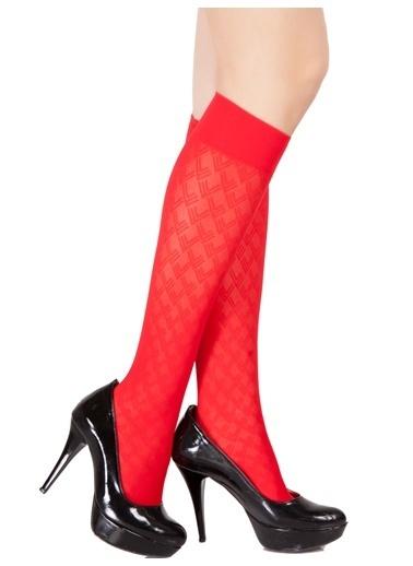 Pierre Cardin 4'Lü Desenli Dizaltı Çorap Kırmızı